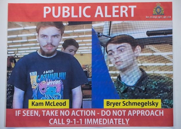 Security camera images of suspects Kam McLeod, 19, and Bryer Schmegelsky, 18, are displayed during a...