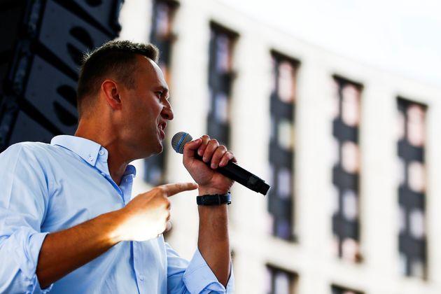 L'opposantAlexeï Navalny lors d'une manifestation à Moscou le 20 juillet avant son