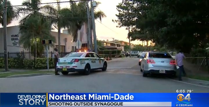 The victim was awaiting services outside the Young Israel of Greater Miami synagogue when a gunman in a black car opened fire