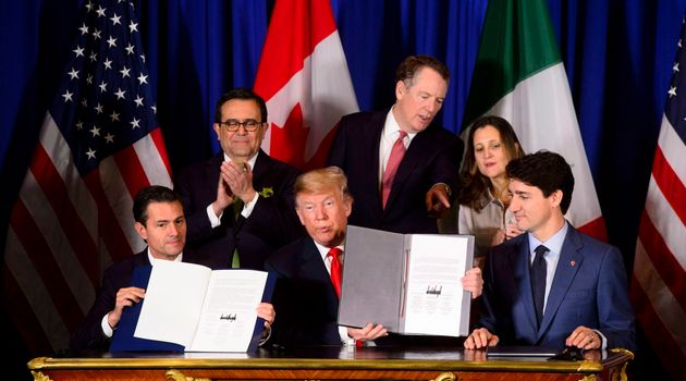Prime Minister Justin Trudeau, right to left, Foreign Affairs Minister Chrystia Freeland, U.S. Trade...
