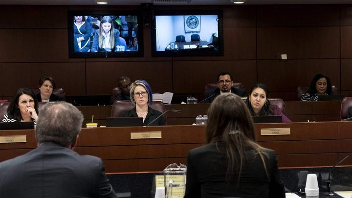 From left, Nevada state Reps. Alexis Hansen, Sarah Peters, and Selena Torres at a hearing in Carson City, Nevada, in April. N