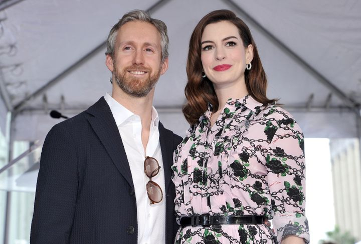 Adam Shulman and Anne Hathaway pictured together at her Hollywood Walk of Fame ceremony.