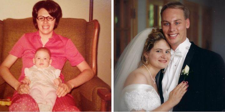 L'écrivaine Julie Hoag avec sa mère (à gauche), et le jour de son mariage.