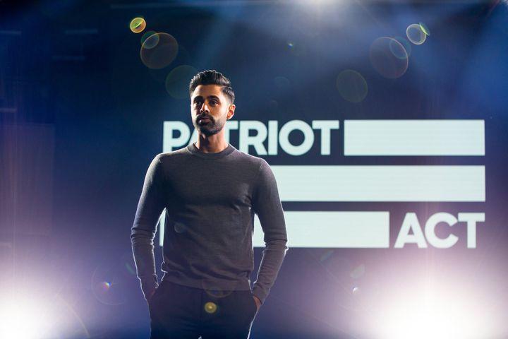 "Hasan Minhaj on the set of ""Patriot Act."""