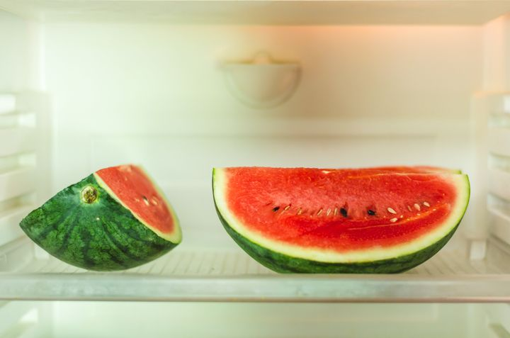 Storing watermelon in the refrigerator is a major no-no, unless it's already cut.