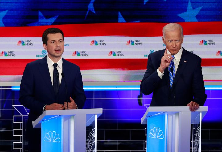 Pete Buttigieg and Joe Biden on June 27, the second night of the first Democratic presidential primary debate leading up to t
