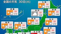 【7月30日の天気】暑さ対策と急な雷雨に注意が必要な一日です