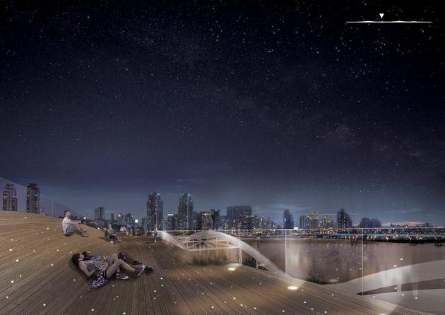 한강대교 위에 세워질 공중보행교의 설계안이