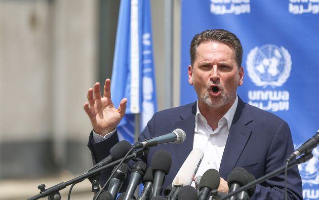 El responsable mundial de UNRWA,Pierre Krahenbuhl, el pasado marzo en la Franja de