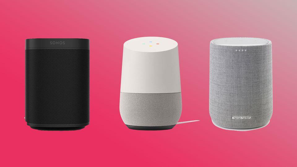 De gauche à droite, vous trouverez la Sonos One, le Google Home et la Harman & Kardon Citation