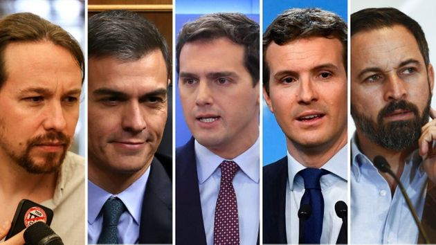 Pablo Iglesias, Pedro Sánchez, Albert Rivera, Pablo Casado y Santiago