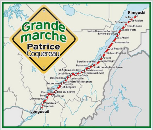Itinéraire de la marche de Patrice