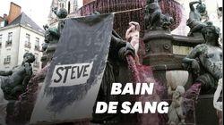 À Nantes, la mort de Steve symbolisée par une fontaine rouge