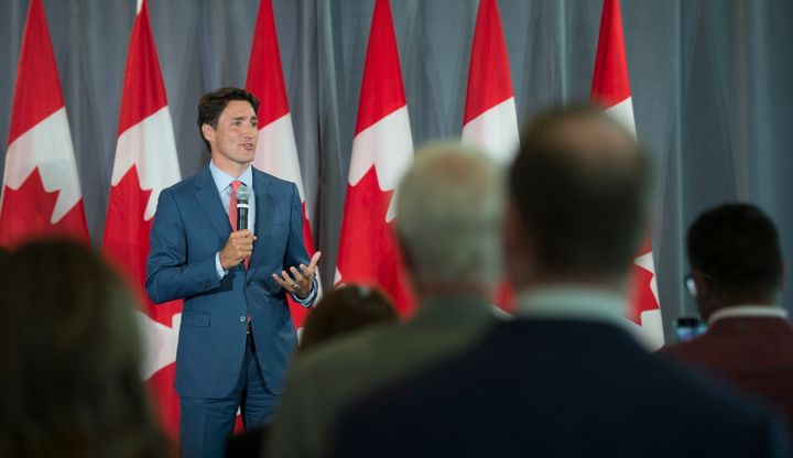 Prime MinisterJustinTrudeauaddresses a gathering at a Liberal fundraiser at the University of British Columbia in Vancouver on July 29, 2019.