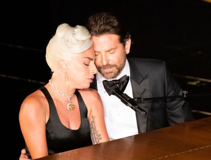 "Lady Gaga and Bradley Cooper perform ""Shallow"" from ""A Star Is Born"" at the Oscars."