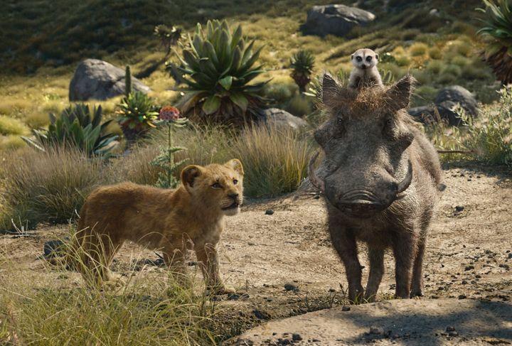 """Simba, Timon and Pumbaa in Jon Favreau's """"The Lion King."""""""