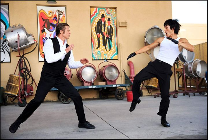 """Cliff Booth (Brad Pitt) fighting Bruce Lee (Mike Moh) in Quentin Tarantino's """"Once Upon a Time in Hollywood."""""""