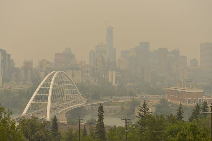A view of Edmonton's smoke-filled city centre on Wednesday, August 22, 2018.
