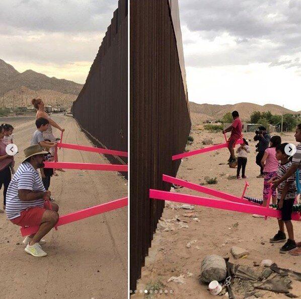 アメリカ・メキシコ国境、分断の「壁」にピンクのシーソーが登場。その意図は?