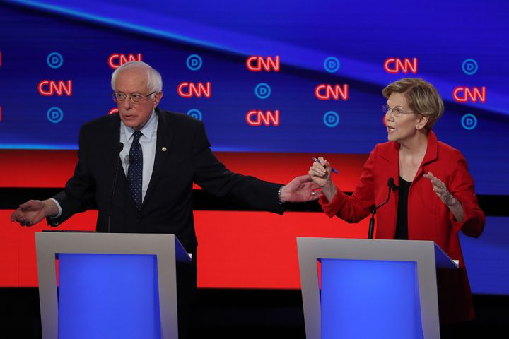 Sens. Bernie Sanders (I-Vt.) and Elizabeth Warren (D-Mass.) made similar arguments about health care during the Democratic primary debate in Detroit on Tuesday.