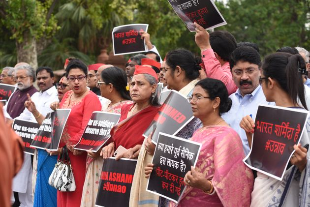 MPs hold a protest demanding justice for the survivor in the Unnao rape