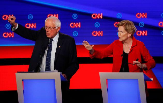 Bernie Sanders et Elisabeth Warren, les deux figures de l'aile gauche lors du deuxième débat...