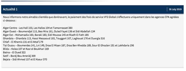 Visas France : VFS Global agrée une liste d'agences CPA pour le paiement de ses