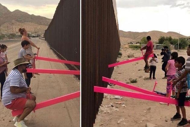 Τραμπάλες ενώνουν τα παιδιά στο τείχος του Τραμπ που χωρίζει το Μεξικό από τις