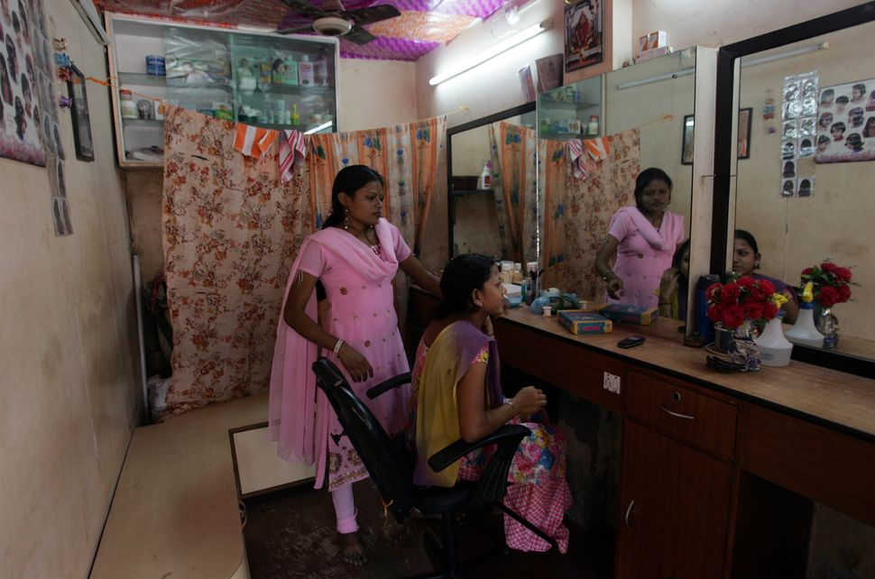 A beauty parlour in India.