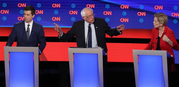 Pete Buttigieg, Bernie Sanders et Elizabeth