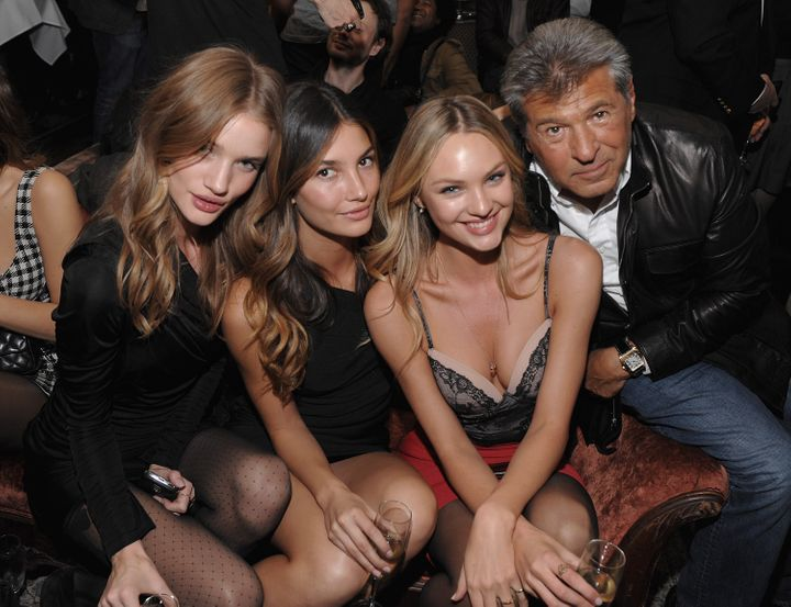 Rosie Huntington-Whiteley, Lily Aldridge and Candice Swanepoel with Ed Razek, at the Victoria's Secret Fashion Show viewing p