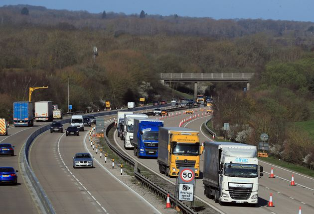 A view of the M20 motorway near Maidstone in Kent, as one side of the main motorway to the Port of Dover...