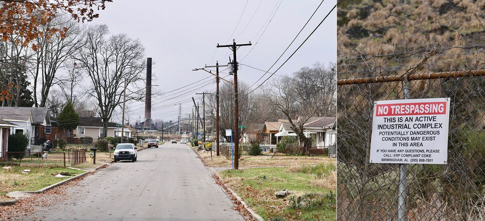 Left: In Harriman Park, residents have a clear view of industry. Right: Across from Keisha Brown's house, a sign warns people