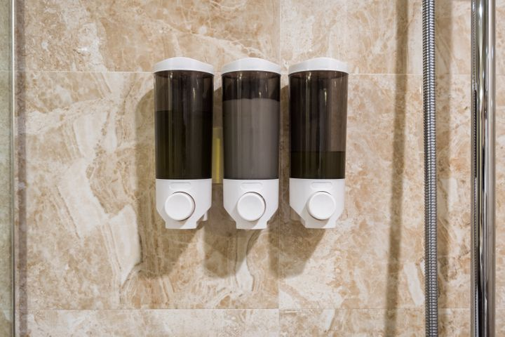 IHG hotels will switch to bulk-sized, refillable amenities by 2021. Some hotels have already moved to larger bottles and wall-mounted dispensers, like the ones pictured.