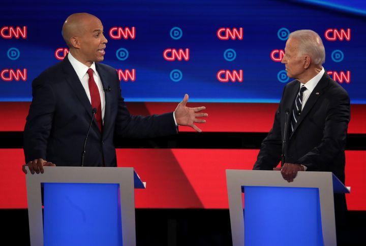 Sen. Cory Booker (D-N.J.) and former Vice President Joe Biden face off during the debate.