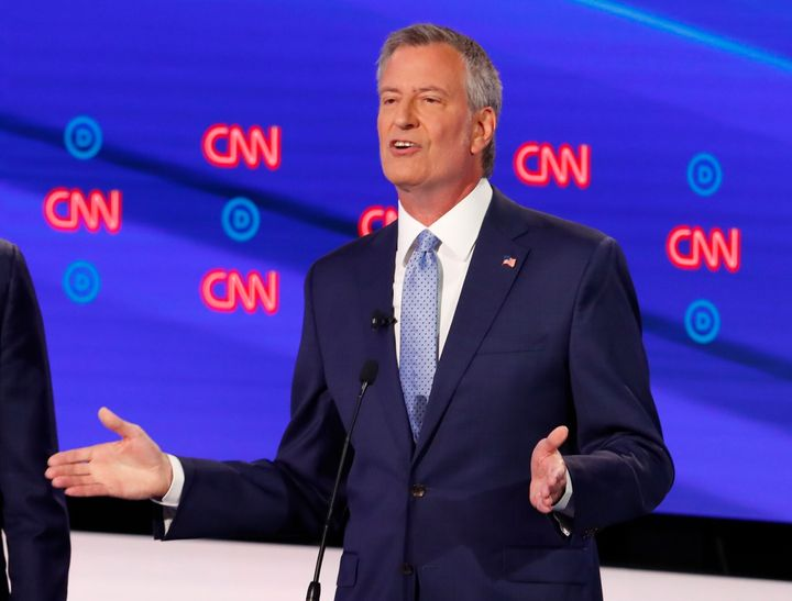 New York City Mayor Bill de Blasio relished the chance to attack his rivals from the left, making a forceful case for, among