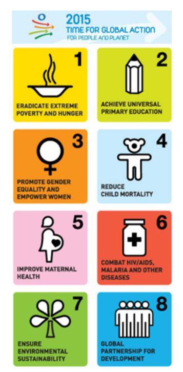 MDGsの8つの目標。順に①極度の貧困と飢餓の撲滅②初等教育の完全普及の達成③ジェンダー平等推進と女性の地位向上④乳児死亡率の削減⑤妊産婦の健康の改善⑥HIV/エイズ、マラリアその他の疾病の蔓延の防止⑦環境の持続可能性確保⑧開発のためのグローバルなパートナーシップの推進