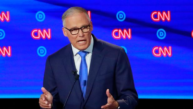 Washington Governor Jay Inslee speaks on the second night of the second 2020 Democratic U.S. presidential debate in Detroit, Michigan, July 31, 2019. REUTERS/Lucas Jackson