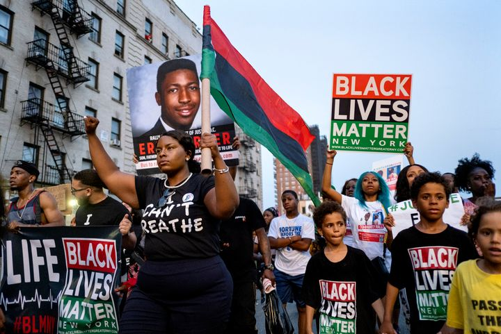 Activists with Black Lives Matter protest in New York on July 16, 2019, in the wake of a decision by federal prosecutors who