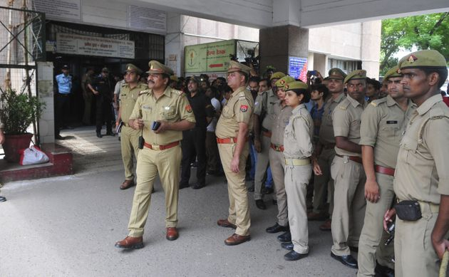 Heavy police force seen outside the Trauma centre at King George's Medical University where Unnao rape...