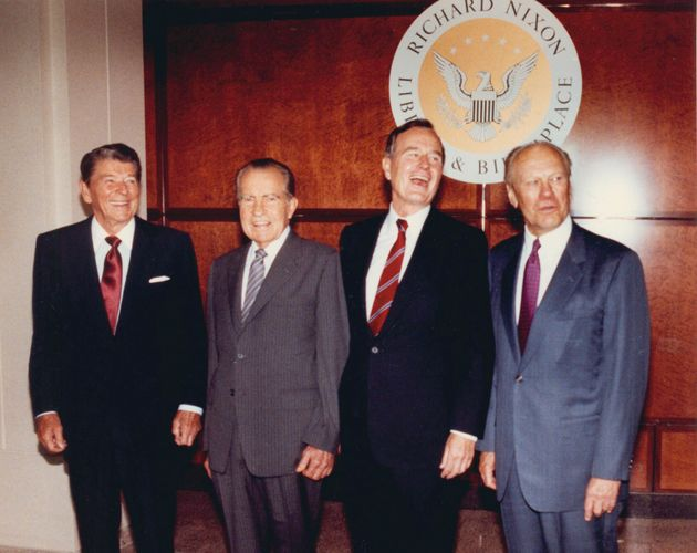 Former presidents Ronald Reagan, Richard Nixon, George Bush and Gerald Ford gather for a the dedication...