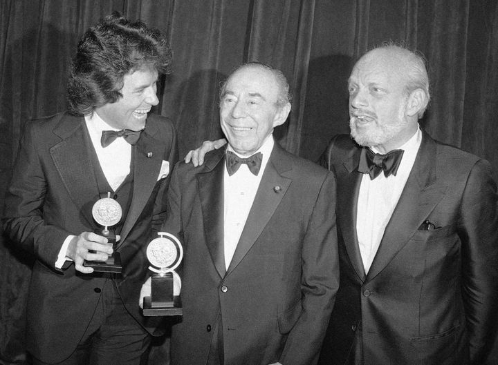 Jack Hofsiss, left, and Hal Prince, right, flank Richard Rodgers at the Tony Award presentations in New York in this 1979 fil
