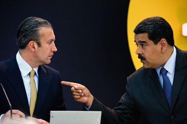 Nicolás Maduro y Tarek El Aissami, el pasado febrero en una rueda de prensa en