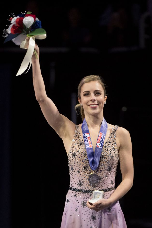 Olympic figure skater Ashley Wagner, seen hereduring the 2018 U.S. Figure Skating Championships,...