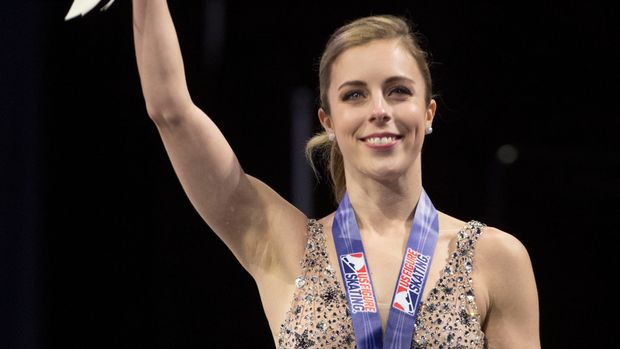 January 5, 2018; San Jose, CA, USA; Fourth place Ashley Wagner waves to the crowd on the podium after the ladies free skate program during the 2018 U.S. Figure Skating Championships at SAP Center. Mandatory Credit: Kyle Terada-USA TODAY Sports