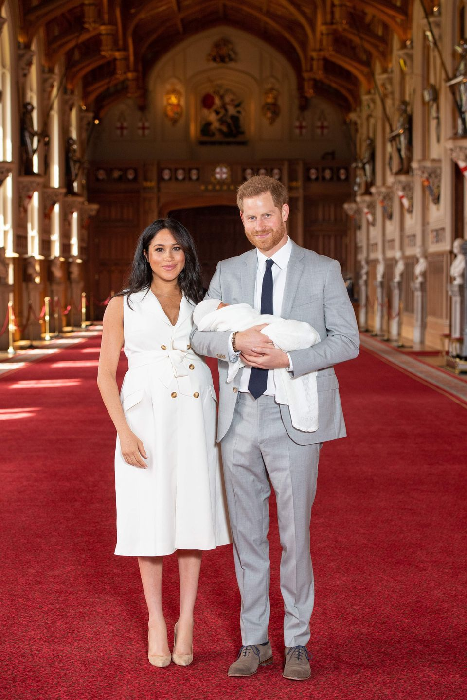 Prince Harry and the Duchess of Sussex pose for a photo with their newborn baby son, Archie Harrison Mountbatten-Windsor, in