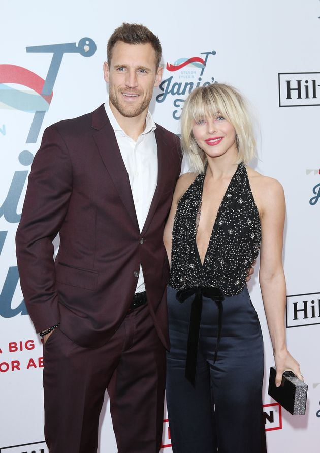 Brooks Laich and Julianne Hough attend a Grammy Awards viewing party in
