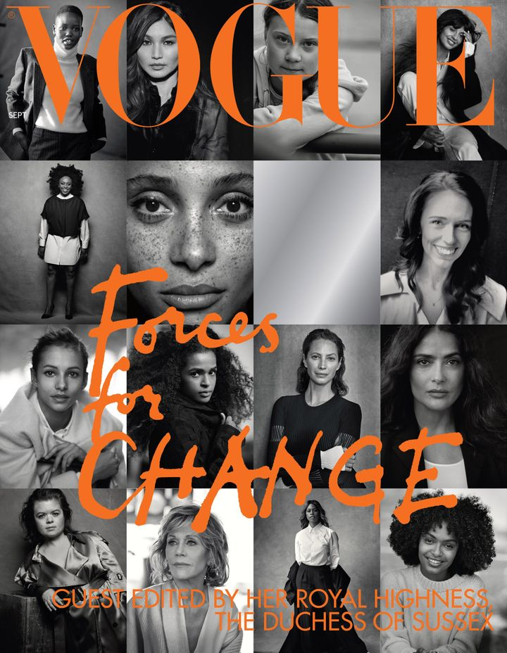 "The cover of British Vogue's September issue, entitled ""Forces for Change,"" shot by Peter Lindbergh."
