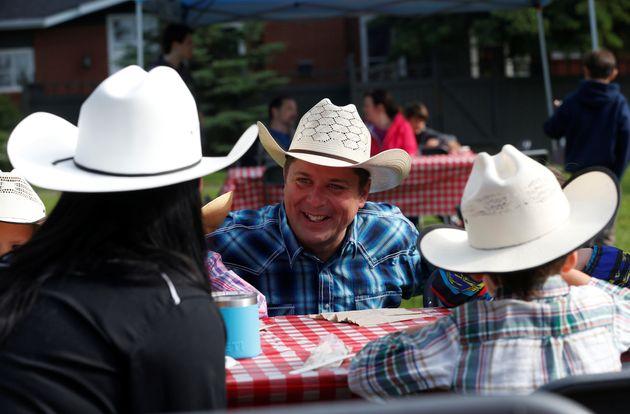 Le chef conservateur Andrew Scheer lors d'une visite au Stampede de Calgary le 6 juillet