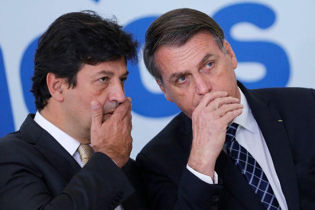 Mandetta e Bolsonaro no lançamento do novo